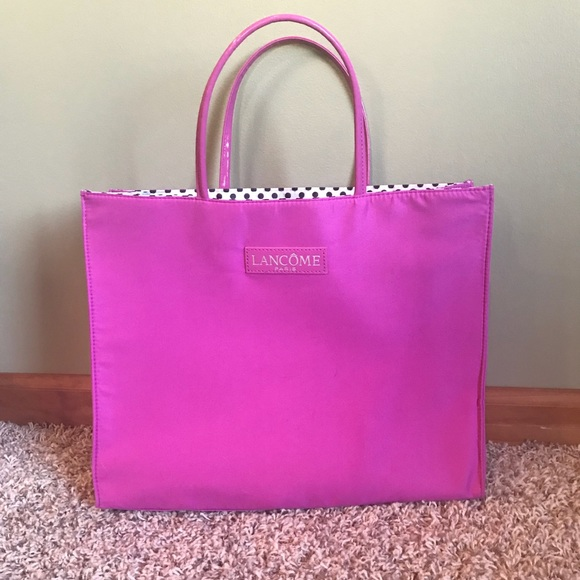 ed6eb7d272155 Lancome Handbags - Pink and polka dot Lancôme Paris large tote bag